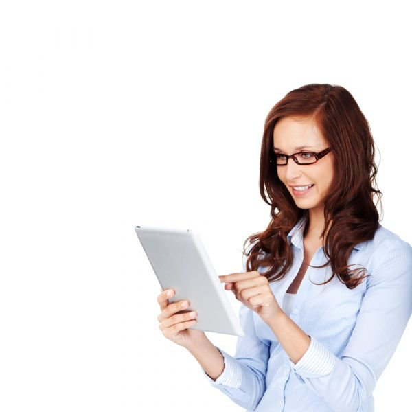 Organising Yourself and Others: beautiful woman holding her tab