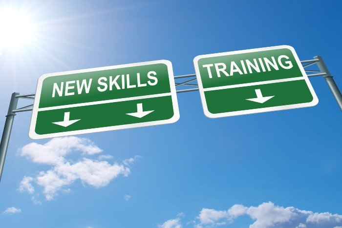 online qualification: street signage that say new skills and training